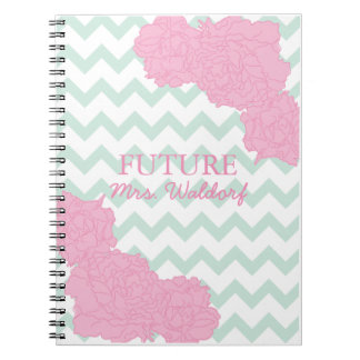 Future Mrs. Peonies and Chevron Spiral Note Books