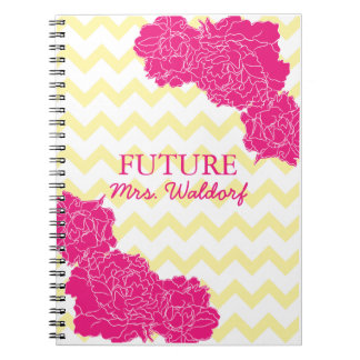 Future Mrs. Peonies and Chevron Spiral Note Book
