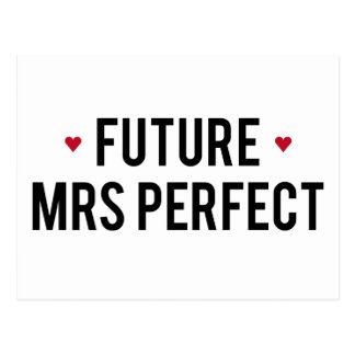 Future Mrs Perfect text design with red hearts Postcard