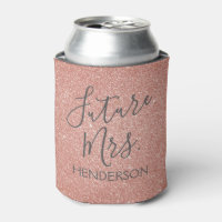 Future Mrs. Rose Gold Blush Pink Sparkle Glitter Can Cooler