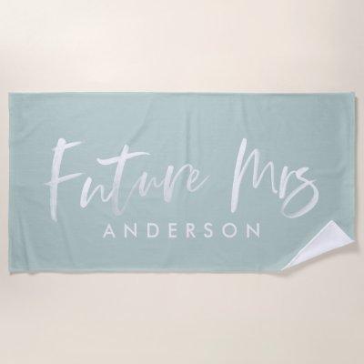 FUTURE MRS... WATERCOLOR ENGAGEMENT BEACH TOWEL