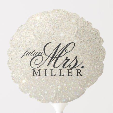 future Mrs White Gold Glitter Bridal Shower Balloon