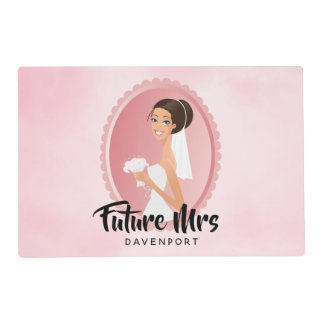 Future Mrs with Bride in Wedding Gown Placemat