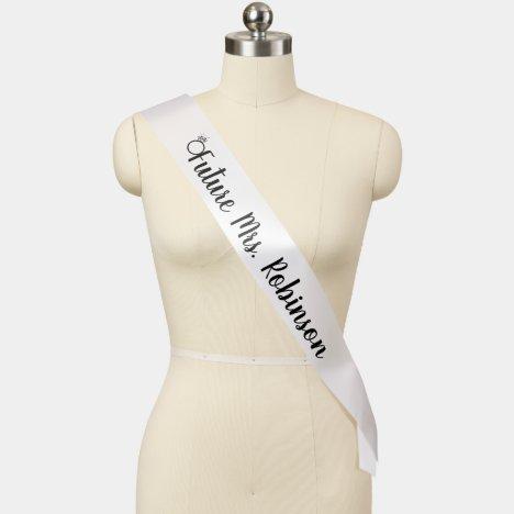 Future Mrs. with Ring Black & White Bride Monogram Sash