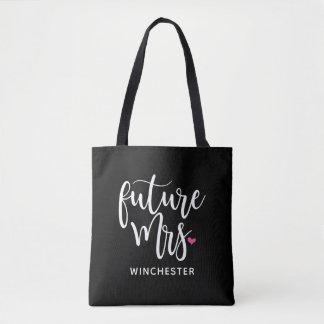 Future Mrs. (Your Name) White Script Tote Bag