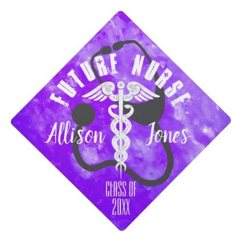 Future Nurse Medical Caduceus Stethoscope Modern Graduation Cap Topper