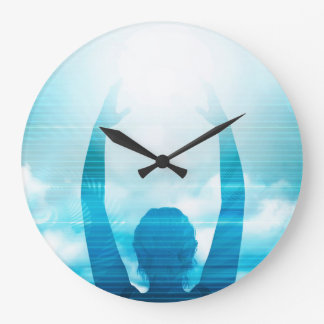 Future of Technology with a Professional Reaching Large Clock