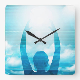 Future of Technology with a Professional Reaching Square Wall Clock