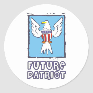 Future Patriot with American flag and eagle Classic Round Sticker