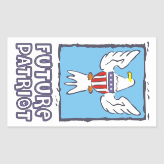 Future Patriot with American flag and eagle Rectangular Sticker