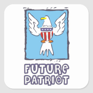 Future Patriot with American flag and eagle Square Sticker