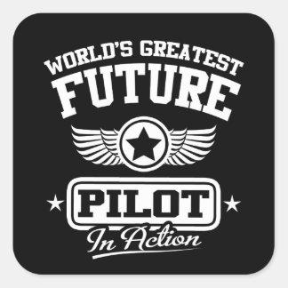 Future Pilot In Action Square Sticker