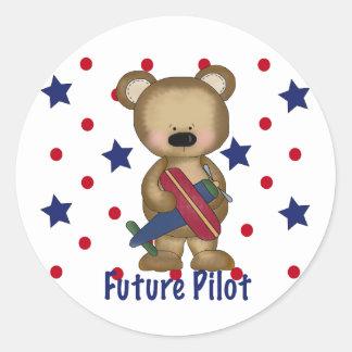 Future Pilot Little Bear Classic Round Sticker