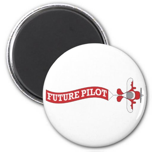 Future Pilot - Plane with Banner 2 Inch Round Magnet