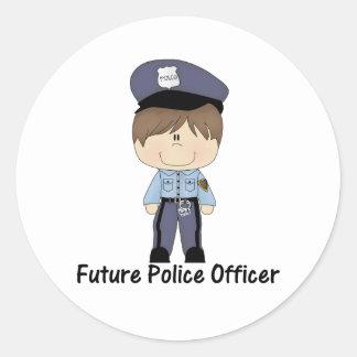 future police officer (boy) classic round sticker
