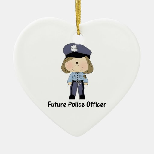 future police officer (girl) Double-Sided heart ceramic christmas ornament