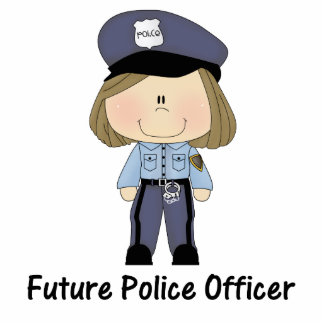 future police officer (girl) standing photo sculpture