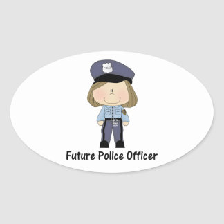 future police officer (girl) oval sticker
