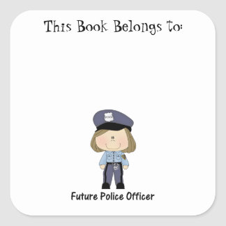 future police officer (girl) square sticker