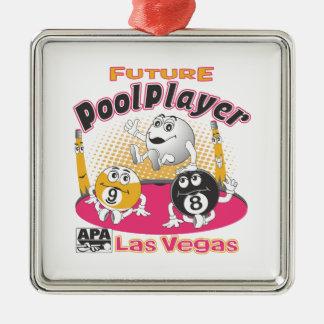 Future Pool Player - Pink Metal Ornament