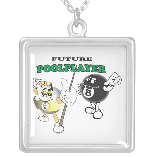 Future Pool Player Silver Plated Necklace