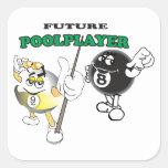 Future Pool Player Square Stickers