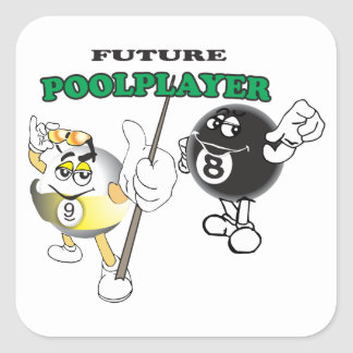 Future Pool Player Square Stickers
