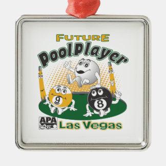 Future Pool Player - Yellow Metal Ornament