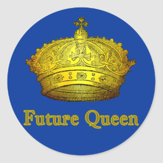 Future Queen with Gold Crown on Tshirts, Apparel Classic Round Sticker