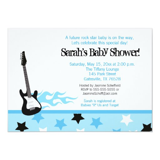 Future Rocker Baby Shower Invitation (Blue)