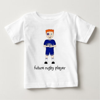 Future Rugby Player Cartoon Character in Blue Kit Baby T-Shirt