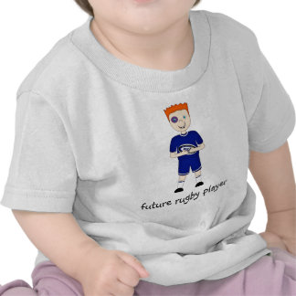 Future Rugby Player Cartoon Character in Blue Kit Tshirts