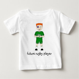 Future Rugby Player Cartoon Character in Green Kit Baby T-Shirt