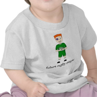 Future Rugby Player Cartoon Character in Green Kit Tees