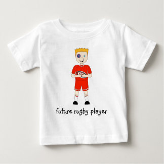 Future Rugby Player Cartoon Character in Red Kit Baby T-Shirt