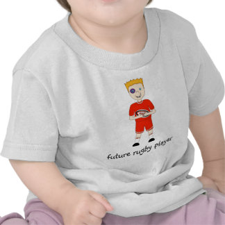 Future Rugby Player Cartoon Character in Red Kit Tee Shirt