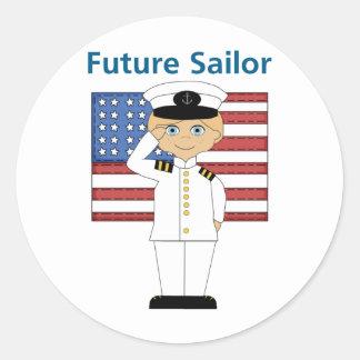 Future Sailor Boy Blonde Round Sticker