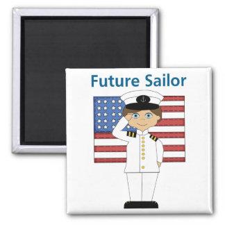 Future Sailor Boy Dark Hair 2 Inch Square Magnet