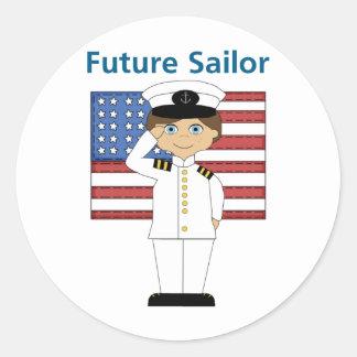 Future Sailor Boy Dark Hair Round Stickers
