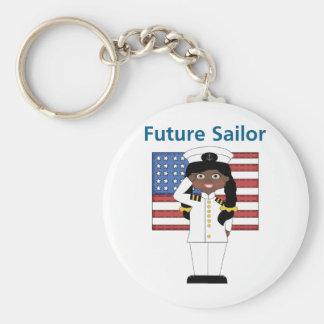 Future Sailor Girl African American Basic Round Button Keychain