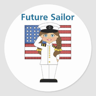 Future Sailor Girl Dark Hair Classic Round Sticker