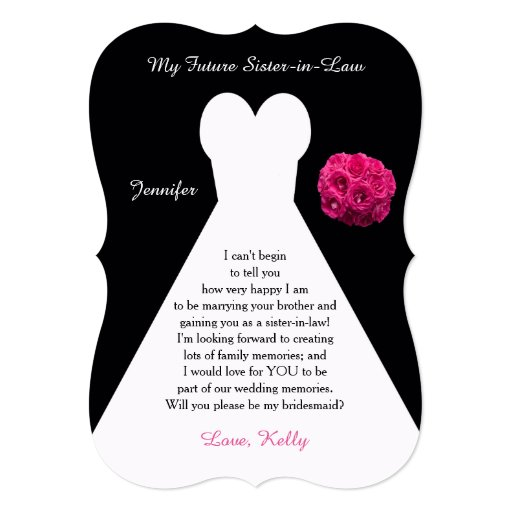 Future Sister in Law Bridesmaid Poem Request Gown 5x7 Paper Invitation ...