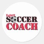 Future Soccer Coach (red) Classic Round Sticker