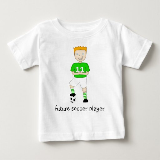Future Soccer Player Cartoon Character in Green Shirt