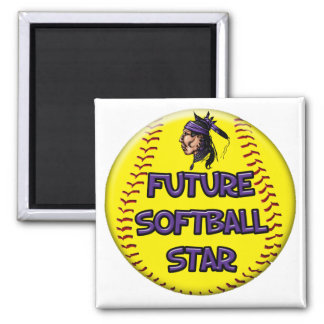 Future Softball Star 2 Inch Square Magnet