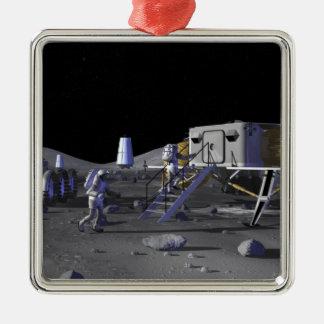 Future space exploration missions 13 metal ornament