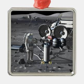 Future space exploration missions 2 metal ornament