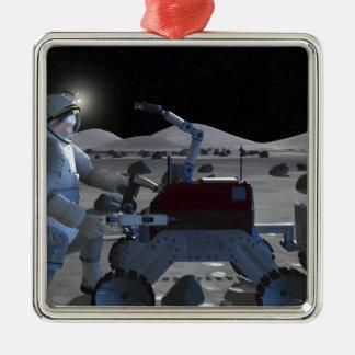 Future space exploration missions 7 metal ornament