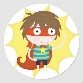 Future superhero classic round sticker