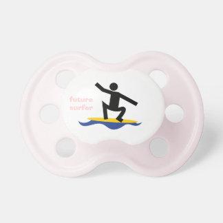 Future surfer, surfer on a surfboard custom pacifier